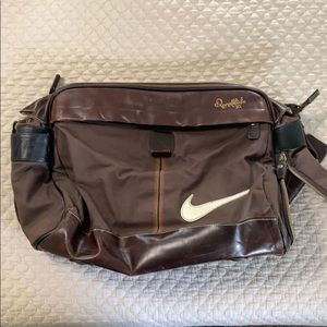 Nike Ronaldinho leather and fabric shoulder bag